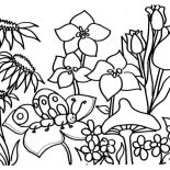 Spring Flower, Catepillar On Spring Flower Coloring Page: Catepillar on Spring Flower Coloring Page