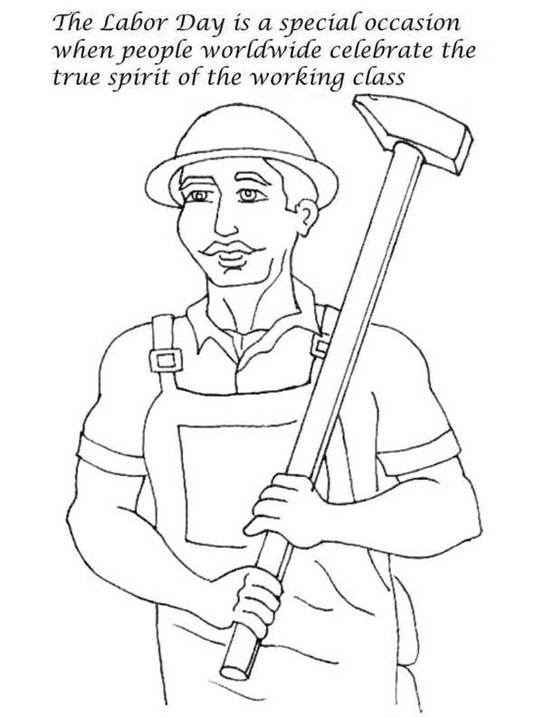 Labor Day, : Celebrate the True Spirit of the Working Class in Labor Day Coloring Page