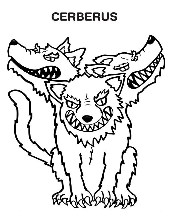 Monsters, : Cerberus the Monster Coloring Page