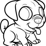 Pug, Chibi Pug Dog Coloring Page: Chibi Pug Dog Coloring Page