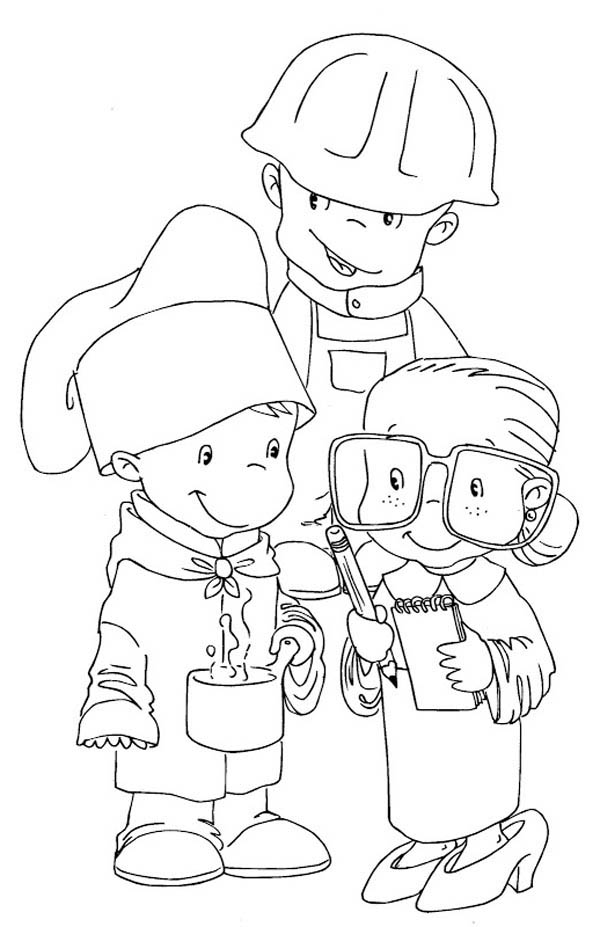 Labor Day, : Children Dress as Workers in Labor Day Coloring Page