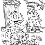 Rugrats, Chuckie Find Tommy Is So Smeely Because Playing Garbage In Rugrats Coloring Page: Chuckie Find Tommy is so Smeely Because Playing Garbage in Rugrats Coloring Page