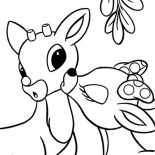 Rudolph, Clarice Kiss Rudolph The Red Nosed Reindeer Coloring Page: Clarice Kiss Rudolph the Red Nosed Reindeer Coloring Page