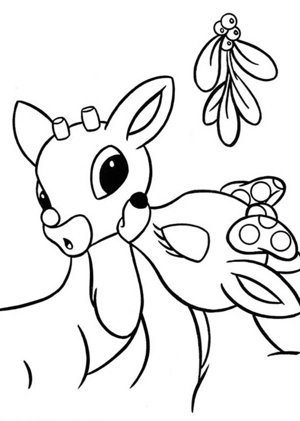 Rudolph, : Clarice Kiss Rudolph the Red Nosed Reindeer Coloring Page