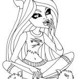 Monster High, Clawdeen Wolf Wondering In Monster High Coloring Page: Clawdeen Wolf Wondering in Monster High Coloring Page