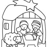 Nativity, Cute Cartoon Of Nativity Coloring Page: Cute Cartoon of Nativity Coloring Page