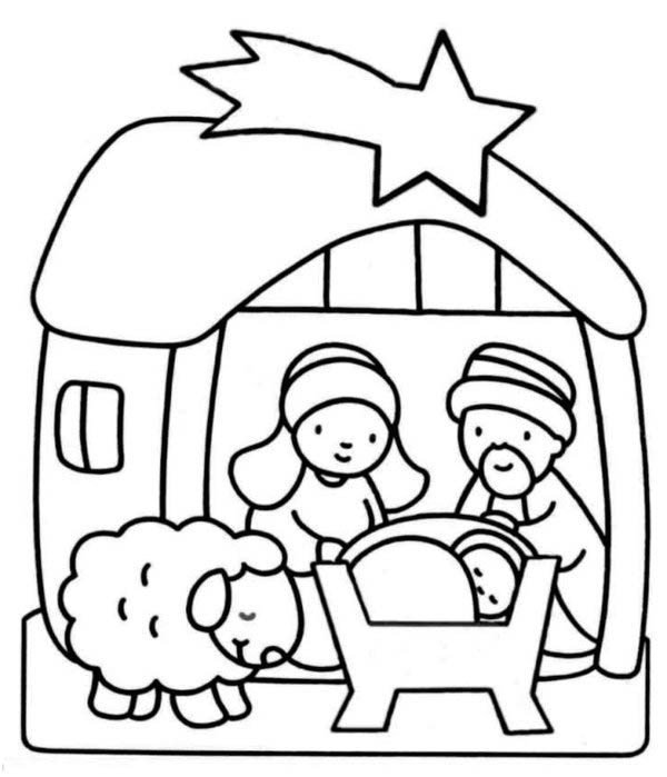Nativity, : Cute Cartoon of Nativity Coloring Page