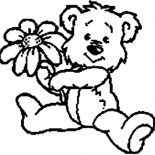 Teddy Bear, Cute Teddy Bear Give You A Rose Coloring Page: Cute Teddy Bear Give You a Rose Coloring Page