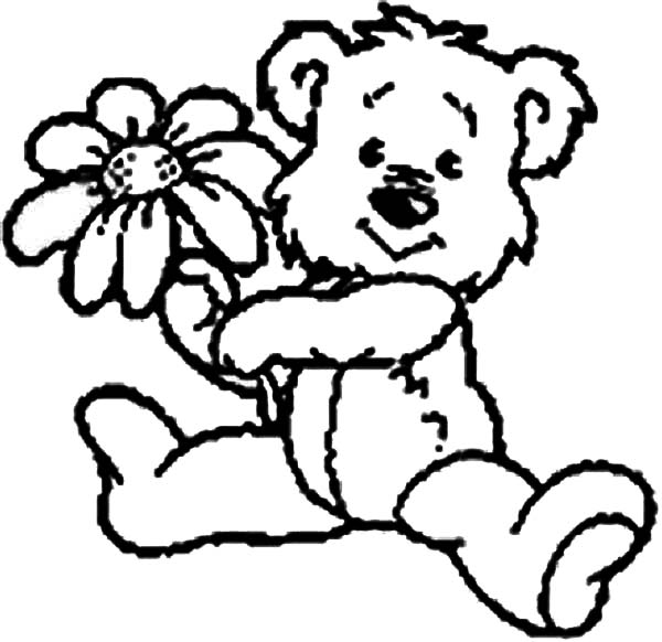 Teddy Bear, : Cute Teddy Bear Give You a Rose Coloring Page
