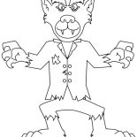 Monsters, Cute Werewolf Monster Coloring Page: Cute Werewolf Monster Coloring Page