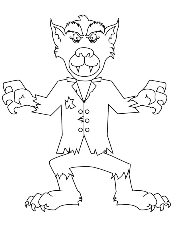 Monsters, : Cute Werewolf Monster Coloring Page