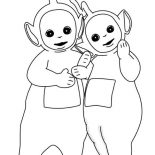 Teletubbies, Dipsy And Laa Laa Share A Piece Of Bread In Teletubbies Coloring Page: Dipsy and Laa Laa Share a Piece of Bread in Teletubbies Coloring Page