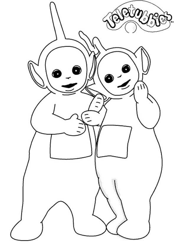 Teletubbies, : Dipsy and Laa Laa Share a Piece of Bread in Teletubbies Coloring Page