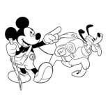 Pluto, Disney Mickey And Pluto Going Camping Coloring Page: Disney Mickey and Pluto Going Camping Coloring Page