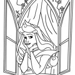 Sleeping Beauty, Disney Princess Aurora Open Her Window In Sleeping Beauty Coloring Page: Disney Princess Aurora Open Her Window in Sleeping Beauty Coloring Page