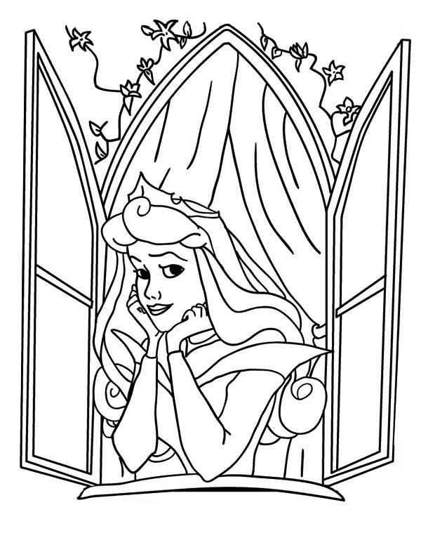Sleeping Beauty, : Disney Princess Aurora Open Her Window in Sleeping Beauty Coloring Page