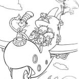 The Cat in the Hat, Dr Seuss The Cat In The Hat Flying With Wierd Airplane Coloring Page: Dr Seuss The Cat in the Hat Flying with Wierd Airplane Coloring Page