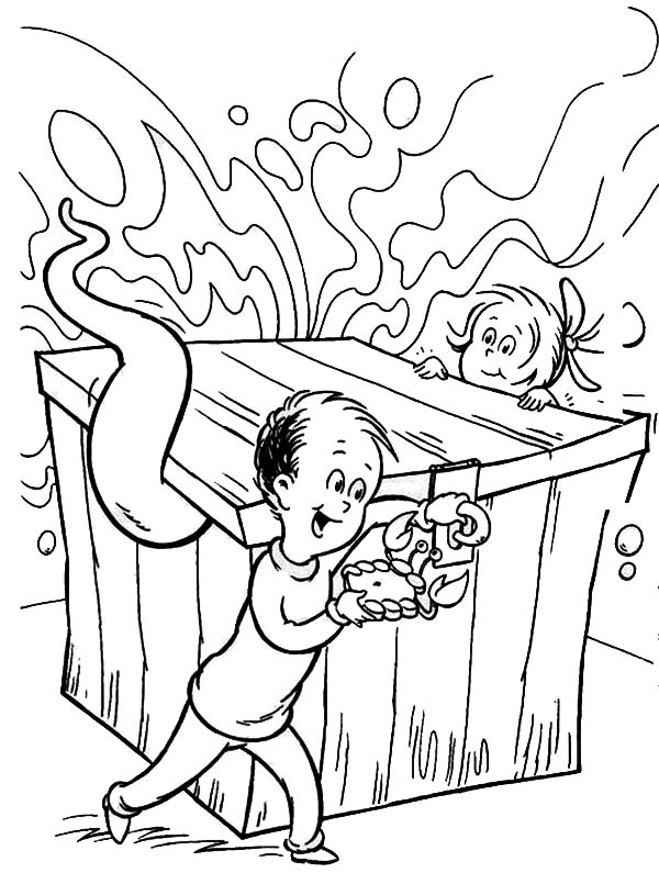 The Cat in the Hat, : Dr Seuss The Cat in the Hat and the Cat Monster in Box Coloring Page