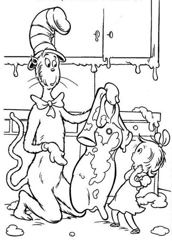 The Cat in the Hat, : Dr Seuss the Cat in the Hat Sallys Mother Dress is Full of Mud Coloring Page