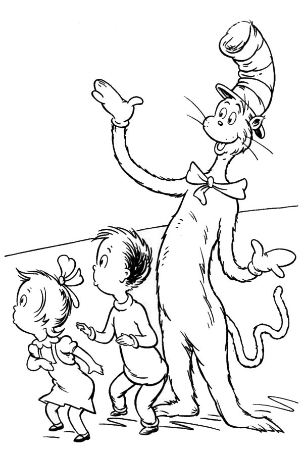 The Cat in the Hat, : Dr Seuss the Cat in the Hat Surprise Sally and her Brother Coloring Page