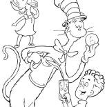 The Cat in the Hat, Dr Seuss The Cat In The Hat Eat Cookie With Sally And Her Brother Coloring Page: Dr Seuss the Cat in the Hat eat Cookie with Sally and Her Brother Coloring Page