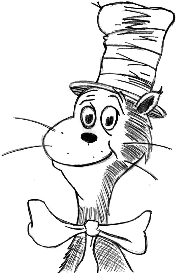 The Cat in the Hat, : Drawing Dr Seuss the Cat in the Hat Coloring Page