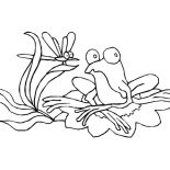 Lily Pad, Drawing Frog On Lily Pad Coloring Page: Drawing Frog on Lily Pad Coloring Page