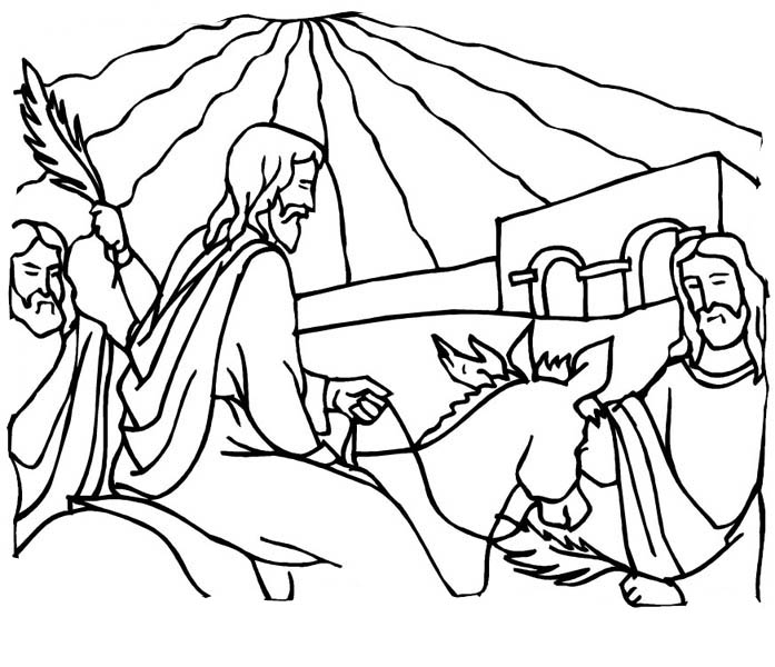Palm Sunday, : Entry of Christ into Jerusalem in Palm Sunday Coloring Page