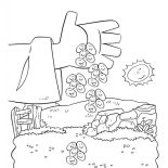 Parable of the Sower, Falling Seed From Farmer Hand In Parable Of The Sower Coloring Page: Falling Seed from Farmer Hand in Parable of the Sower Coloring Page