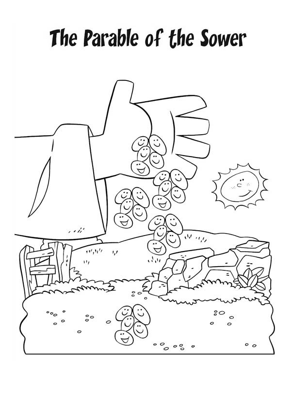 Parable of the Sower, : Falling Seed from Farmer Hand in Parable of the Sower Coloring Page