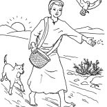 Parable of the Sower, Farmer Scattered Seed Among Thorns In Parable Of The Sower Coloring Page: Farmer Scattered Seed Among Thorns in Parable of the Sower Coloring Page