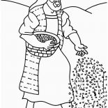 Parable of the Sower, Farmer Scattering Seed In Parable Of The Sower Coloring Page: Farmer Scattering Seed in Parable of the Sower Coloring Page