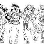 Monster High, Fashion Show In Monster High Coloring Page: Fashion Show in Monster High Coloring Page
