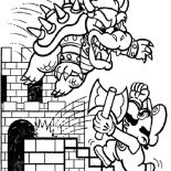 Mario Brothers, Final Battle Between Mario And Dragon In Mario Brothers Coloring Page: Final Battle Between Mario and Dragon in Mario Brothers Coloring Page