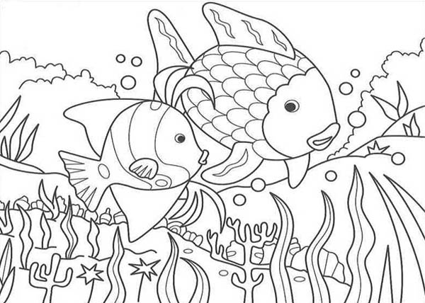 Nature, : Fish in the Lake of Nature Coloring Page
