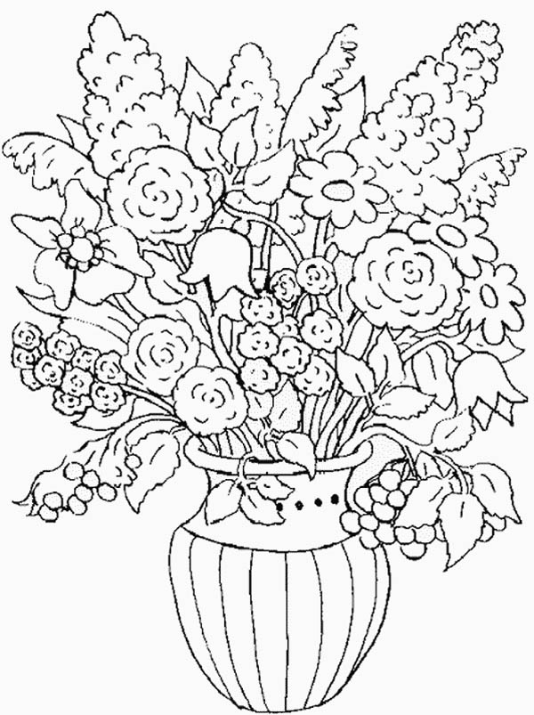 Nature, : Flower in the Vase of Nature Coloring Page