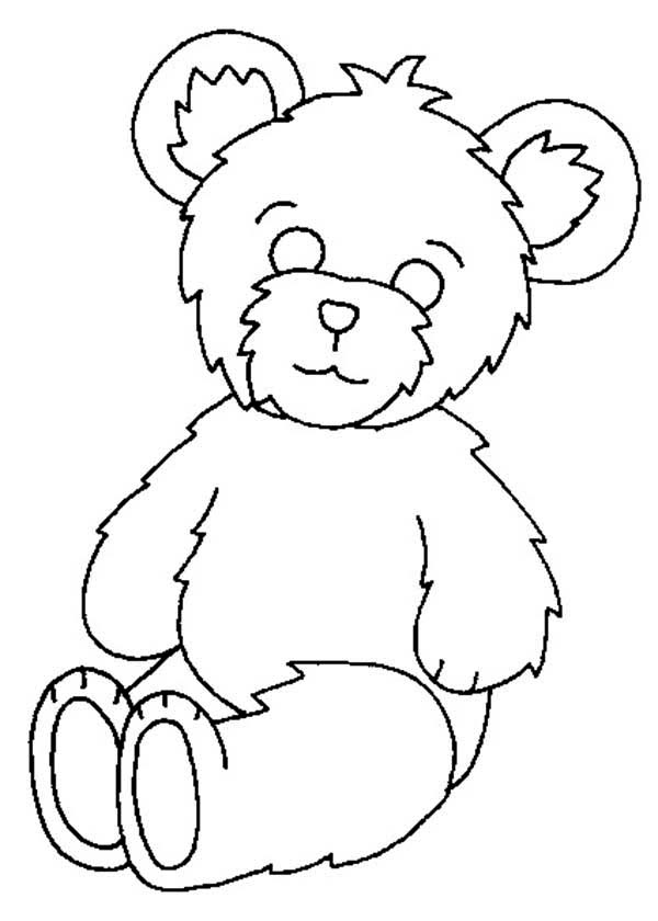 Teddy Bear, : Fluffy Teddy Bear Coloring Page