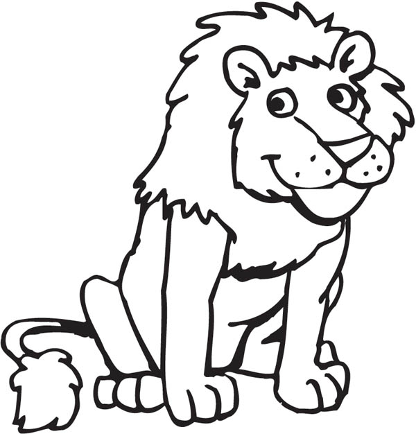 Lion, : Funny Picture of a Lion Coloring Page