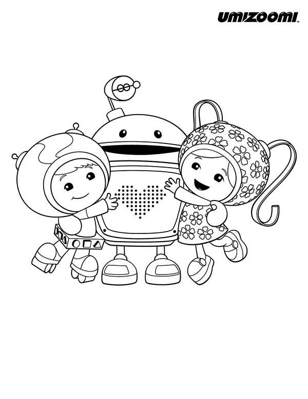 Team Umizoomi, : Geo and Milli Hug Bot in Team Umizoomi Coloring Page