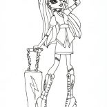 Monster High, Ghoulia Yelps Bring Her Suitcase In Monster High Coloring Page: Ghoulia Yelps Bring Her Suitcase in Monster High Coloring Page