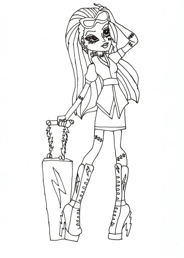 Monster High, : Ghoulia Yelps Bring Her Suitcase in Monster High Coloring Page