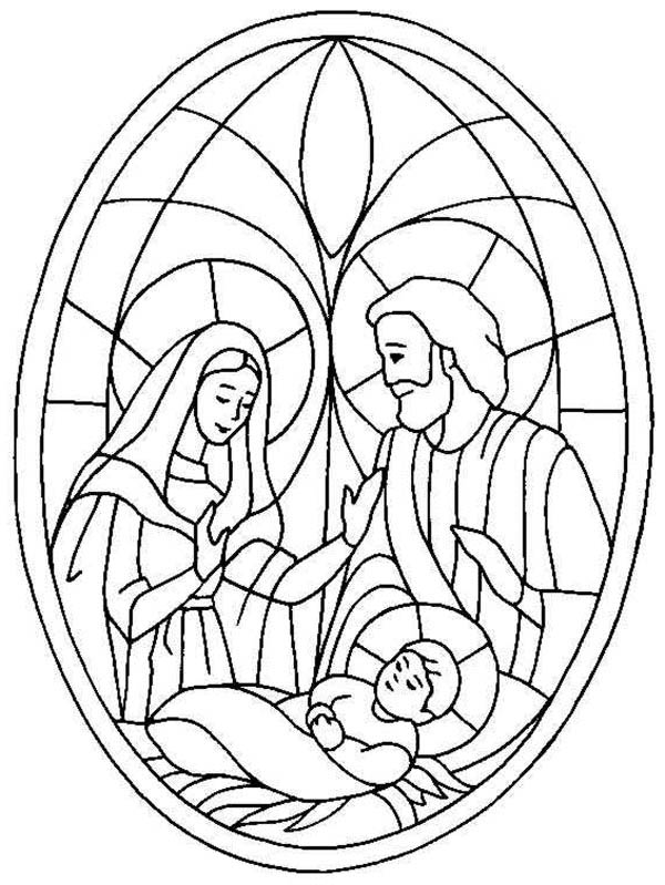 Nativity, : Glass Art of Jesus Nativity Coloring Page