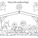 Nativity, Glory To The Newborn King In Nativity Coloring Page: Glory to the Newborn King in Nativity Coloring Page