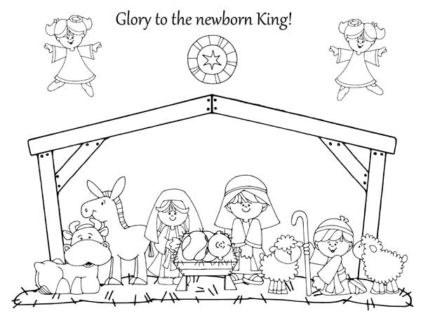 Nativity, : Glory to the Newborn King in Nativity Coloring Page