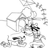 Pluto, Goofy And Pluto Playing Kite Coloring Page: Goofy and Pluto Playing Kite Coloring Page