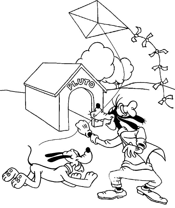 Pluto, : Goofy and Pluto Playing Kite Coloring Page