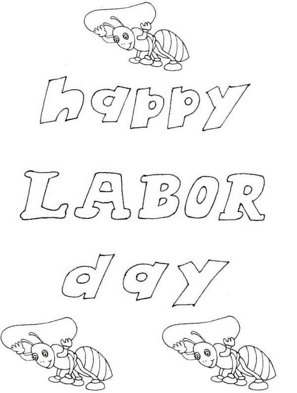 Labor Day, : Happy Labor Day Coloring Page