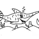 Swordfish, Happy Swordfish Coloring Page: Happy Swordfish Coloring Page