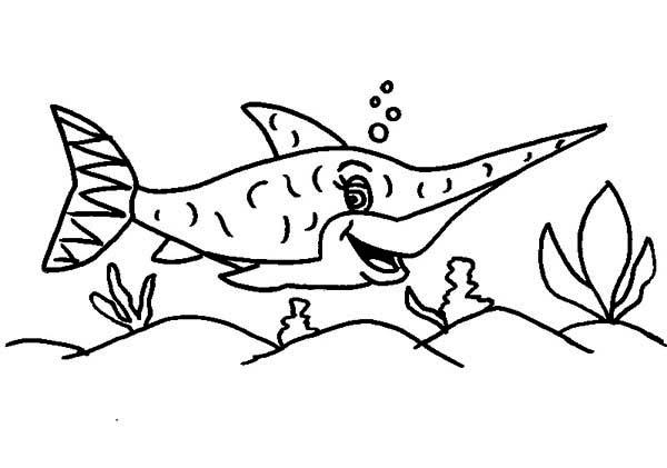 Swordfish, : Happy Swordfish Coloring Page