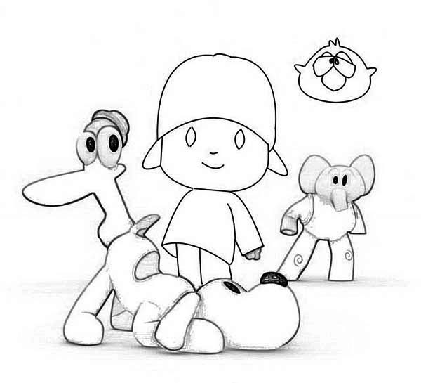 Pocoyo, : How to Draw Pocoyo and Friends Coloring Page